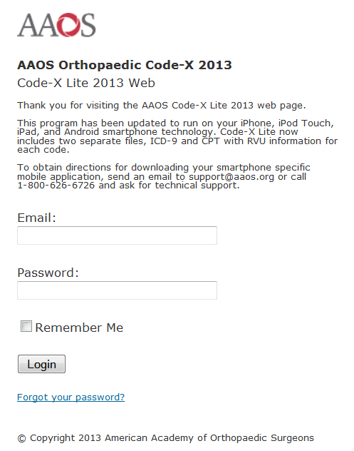 AAOS Code-X Tablet Screenshot